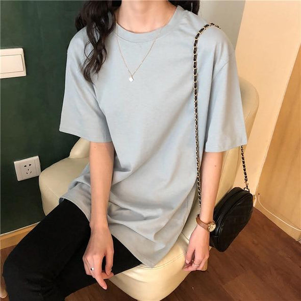 Alien Kitty 2020 New Soft Free Loose Hot Sale Solid Fresh Summer New T-shirt Women Fashion Natural Short Basic Shirt 4 Colors