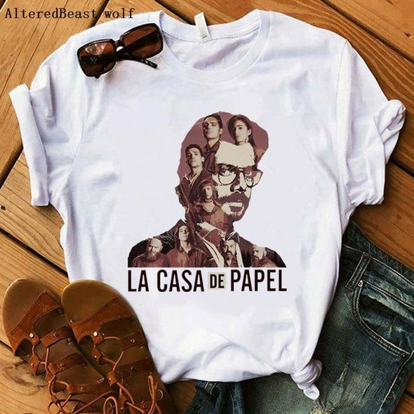 La Casa De Papel t shirt women Harajuku BELLA CIAO letters print Short Sleeve funny Money Heist House of Paper Hip Hop Tops Tees