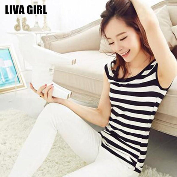 Liva Girl Hot Sale Women Slim Striped T-Shirt Black White O-Neck Tops Tees Plus Size XXL All-match Shirts Ladies Female Gifts - Viva Shirt