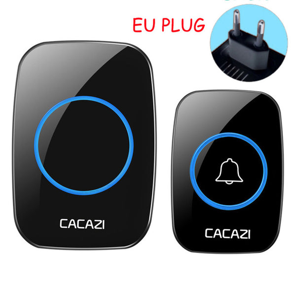 CACAZI New Waterproof Wireless Doorbell 300M Remote CALL EU AU UK US Plug smart Door Bell Chime 220V 1 battery button 1 receiver