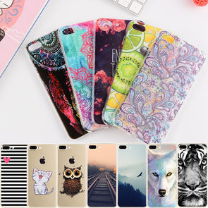 iPhone  Case - Cartoon Animal Flower Protective Shell - For iPhone 7 6 6S 8 Plus X 5 5S SE 4 S