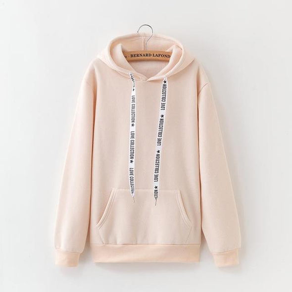 2019 New Social Harajuku Hoodies For Girls Solid Color Hooded Tops Women's Sweatshirt Long-sleeved Winter Velvet Thickening Coat