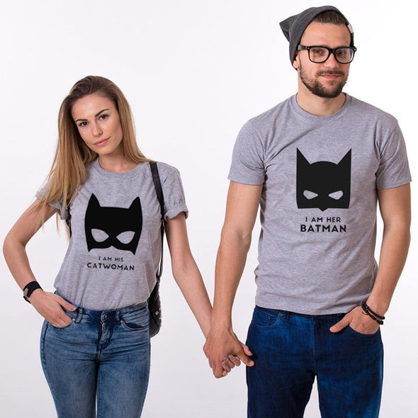 "Funny Costums Couple Set T-shirt ""Batman and Cat Women"" Present Ideas for Couples Lovers for Newlyweds Partners Top Tee Unisex - Viva Shirt"
