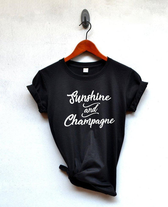 Sugarbaby New Arrival Sunshine and Champagne shirt quote T-shirt gift Woman tshirt Birthday gift shirt Graphic tee Clothing - Viva Shirt