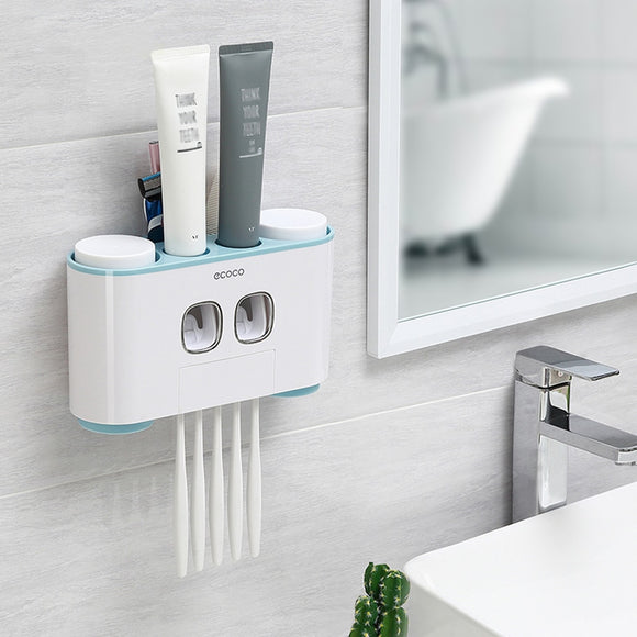 H4 Toothpaste Dispenser. Auto Squeezing Toothpaste Dispenser. Also Toothbrush Holder With Suction Cup Set. Great Bathroom Accessory. Nice Storage Rack with 4 Cups.