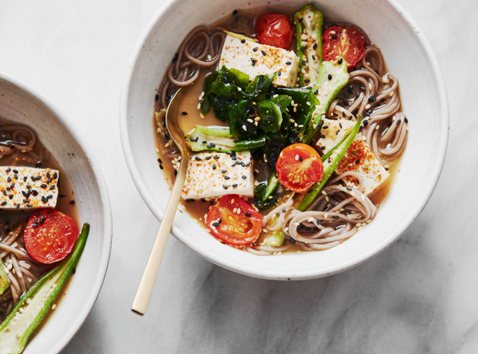 Okra, Roasted Tomato & Buckwheat Noodle Bowl with Miso Ginger Broth