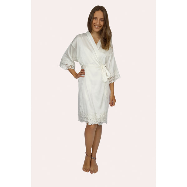 Lace trimmed satin robe that sits just above the knee