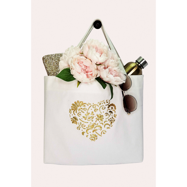 HEART Canvas Wedding Tote Bag