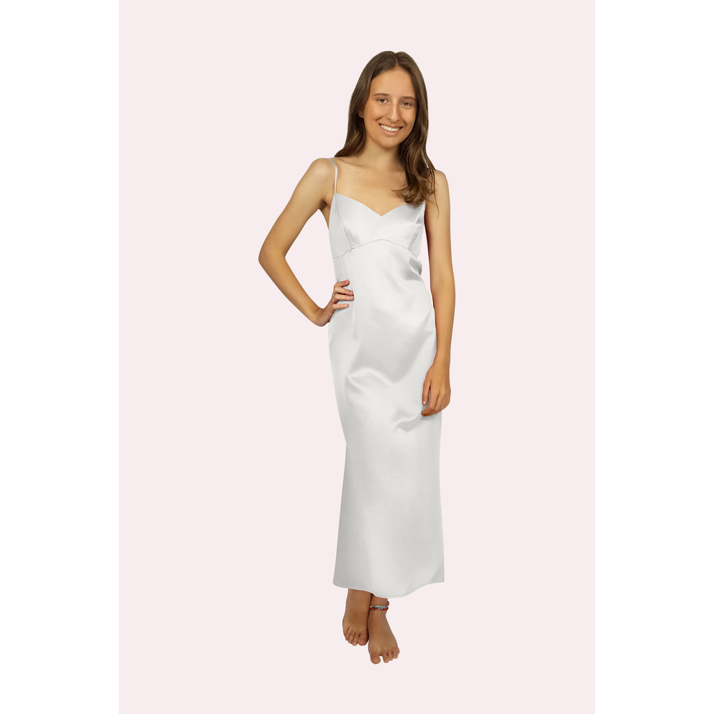 front view of long satin slip in pale ivory