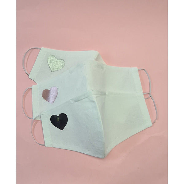 White with heart motif Face Masks