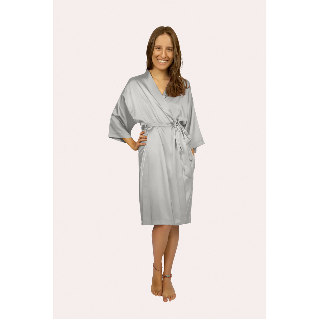Knee length satin robe in silver colour