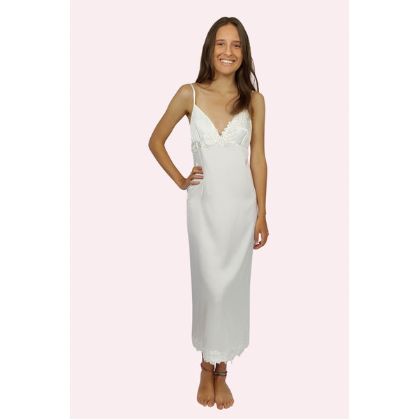 Long lace trimmed bedtime slip in iivory colour