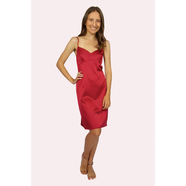 Knee length bedtime satin slip in a ruby colour