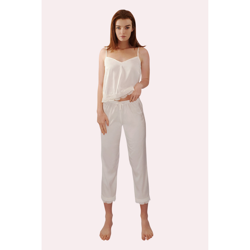 HARPER Lace Trimmed Satin Pyjamas