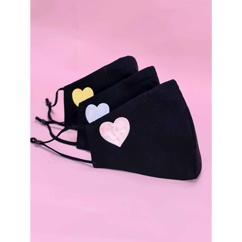Black with heart motif Face Masks