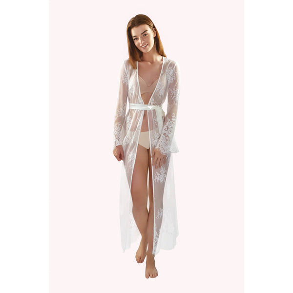 Long bridal lace robe with long sleeves in ivory colour