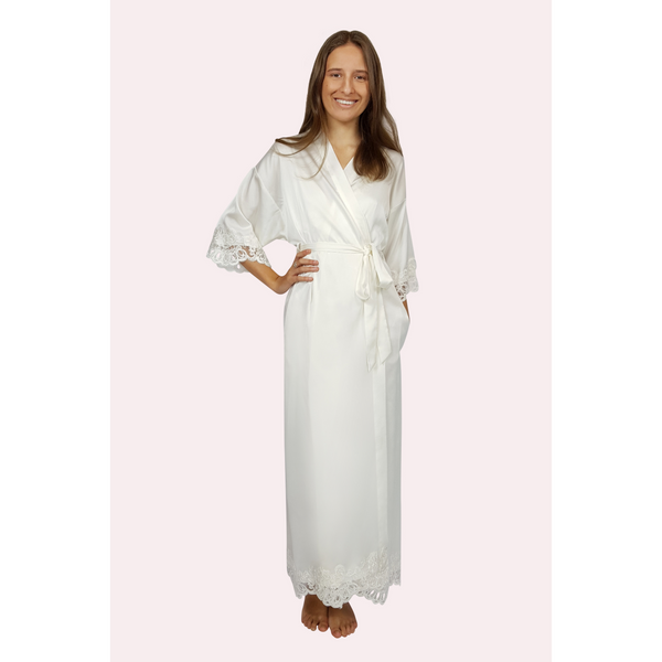 Long satin bridal robe in ivory colour with lace trimmed sleeve and hem edges