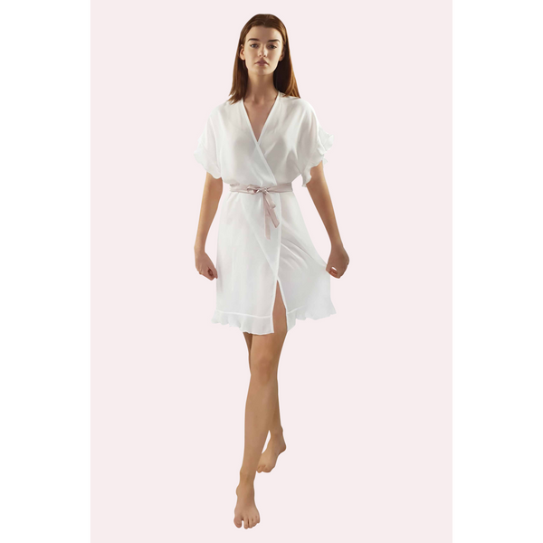 Knee length ivory coloured georgette bridal robe with frilled sleeve and hem