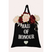 cotton tote bag with title of participant in bridal party
