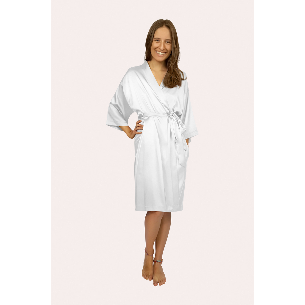 Knee length satin robe in a white colour