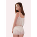 Rear view of of camisole and shorts sleepset in ivory coloured spotted tulle