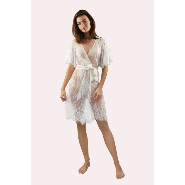 Knee length lace robe in ivory colour