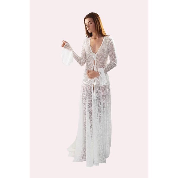 Long lace bridal robe with long sleeves in pale ivory colour