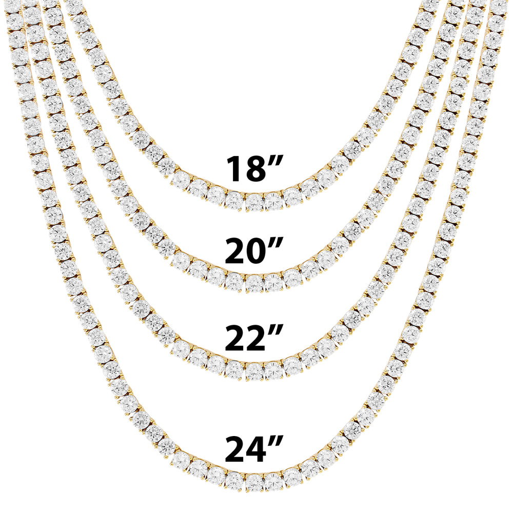 3MM 10K Gold Tennis Chain Solitaire Prong Set