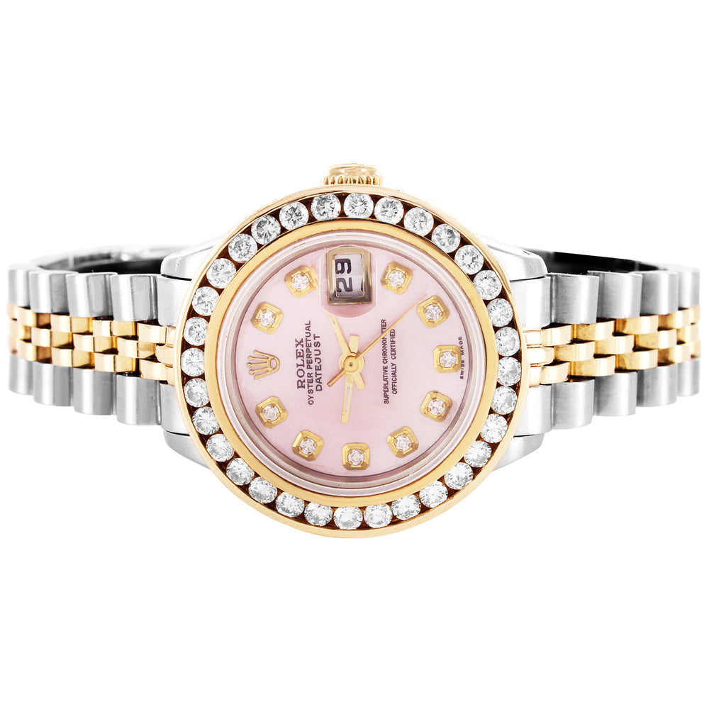 Rolex 26MM Two Tone Datejust Pink Face Diamond Bezel