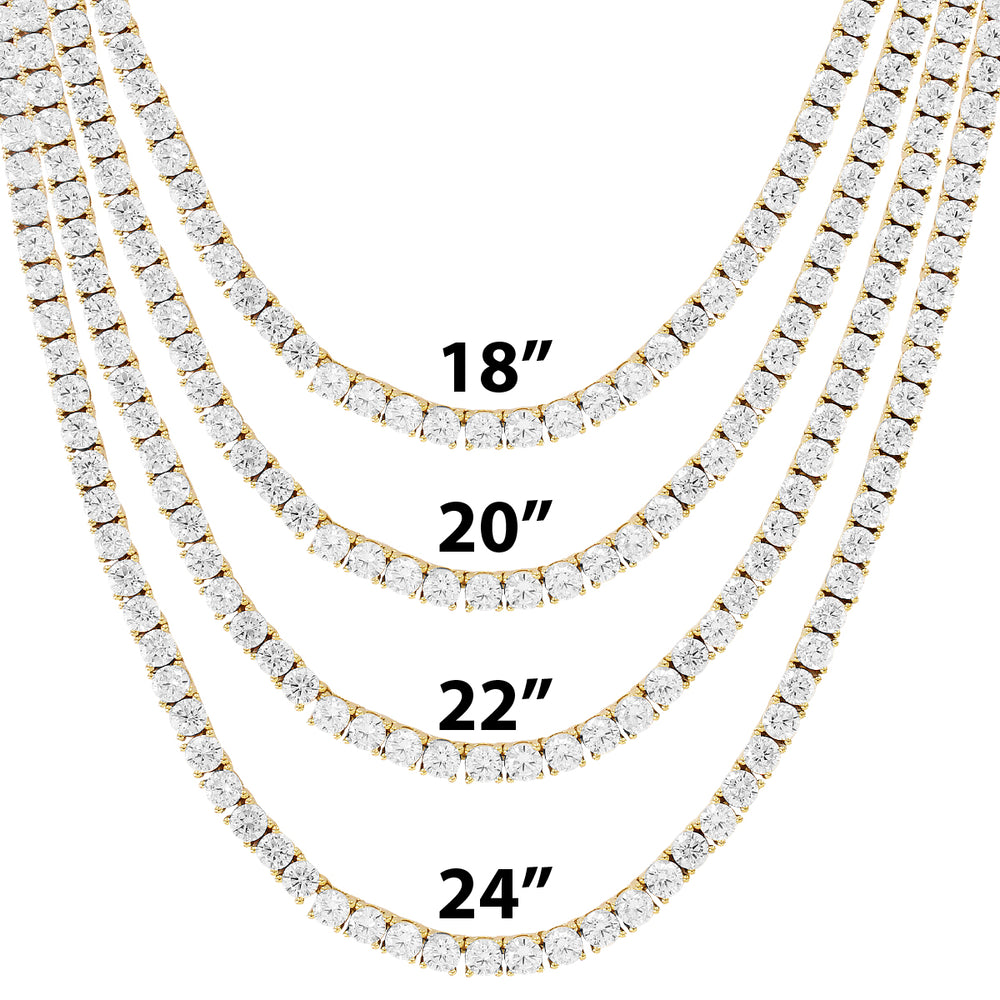 4MM 10K Gold Tennis Chain Solitaire Prong Set