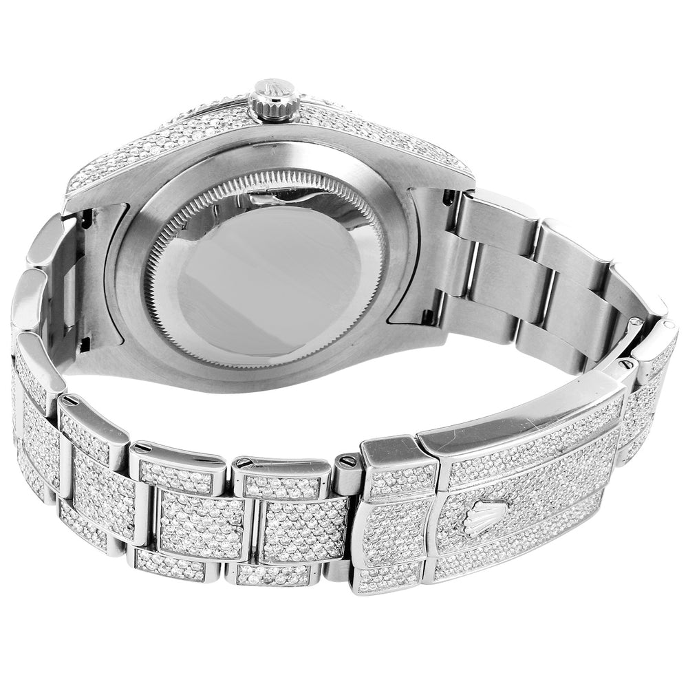 Rolex 41MM Datejust Grey Face Stainless Steel Oyster Band With Diamonds
