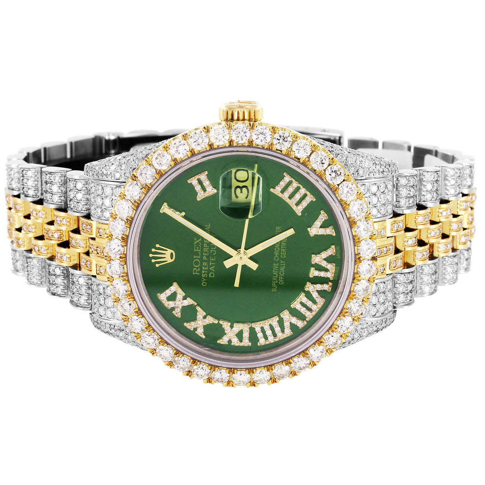 Rolex 36MM Datejust Two Tone Green Roman Face Jubilee Band With Diamonds