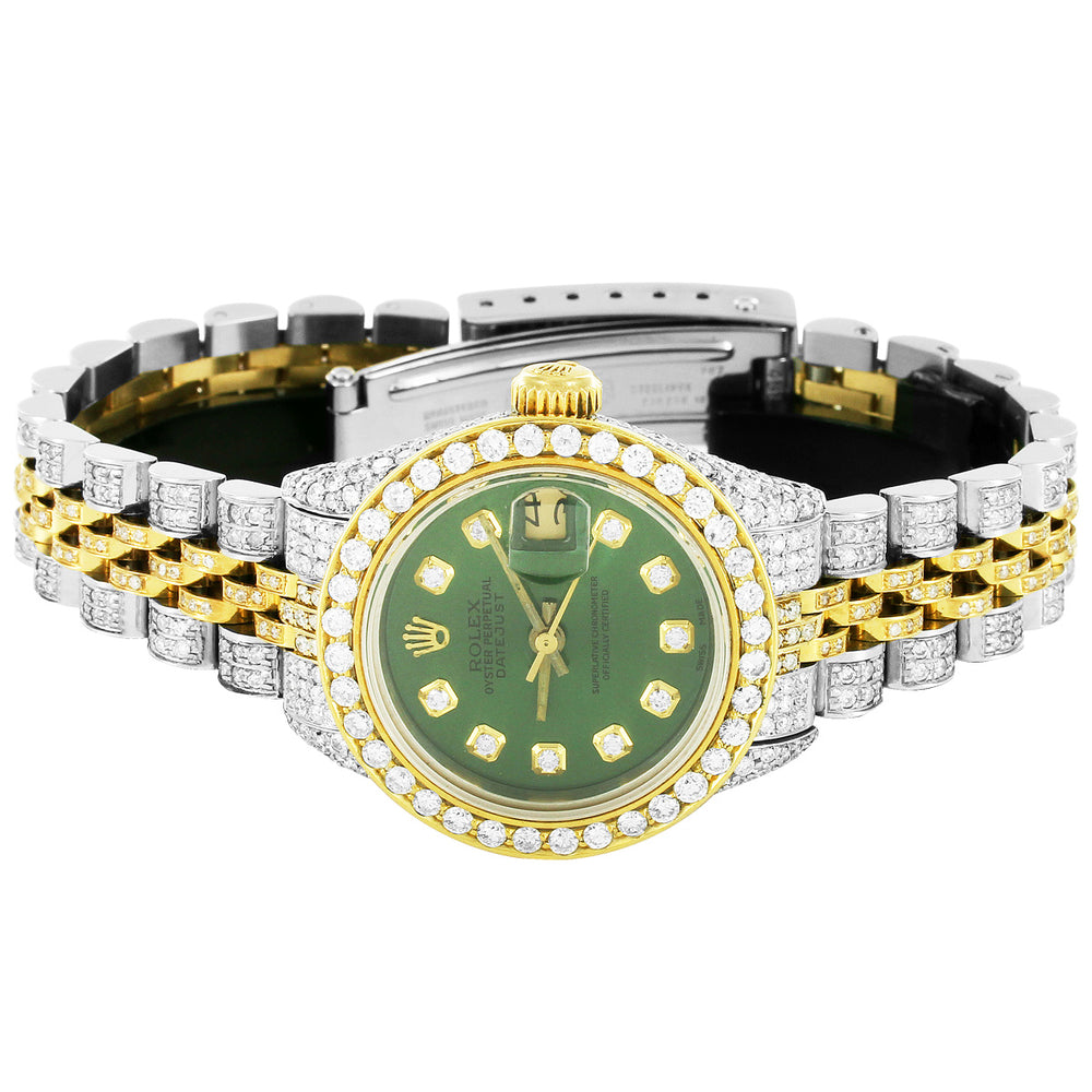 Rolex 26MM Two Tone Datejust Green Face With Diamonds