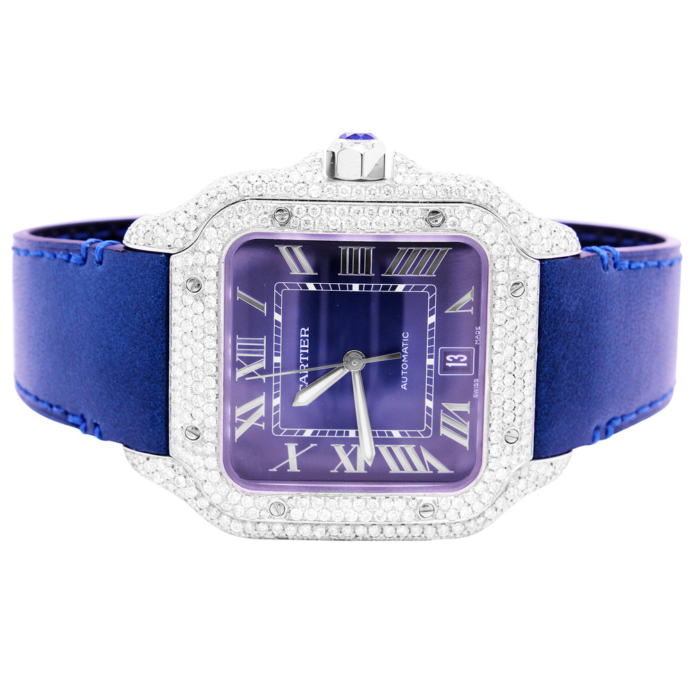 Cartier Santos Diamond Bezel Blue Dial Blue Leather Band