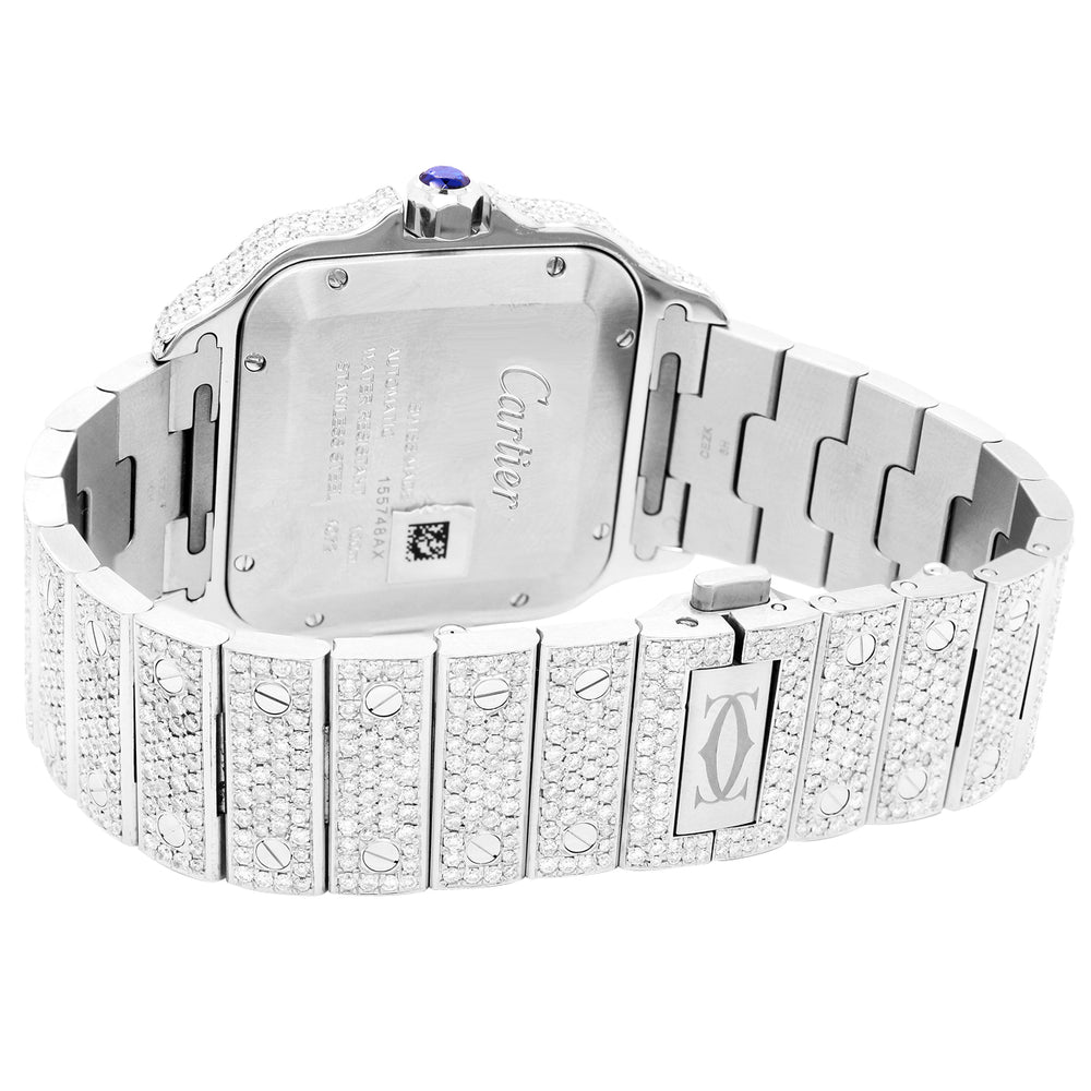 Cartier Santos Blue Roman Dial Diamond Bezel And Band