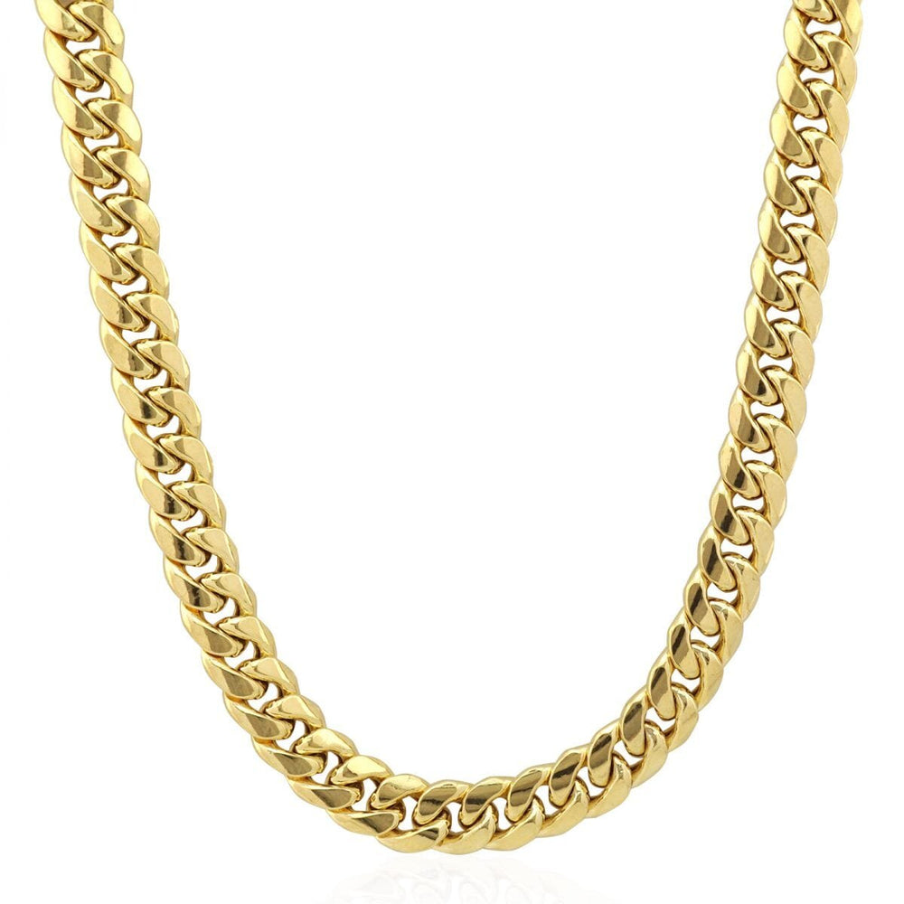 10 MM Solid Gold Miami Cuban Link Chain Yellow White Rose Gold