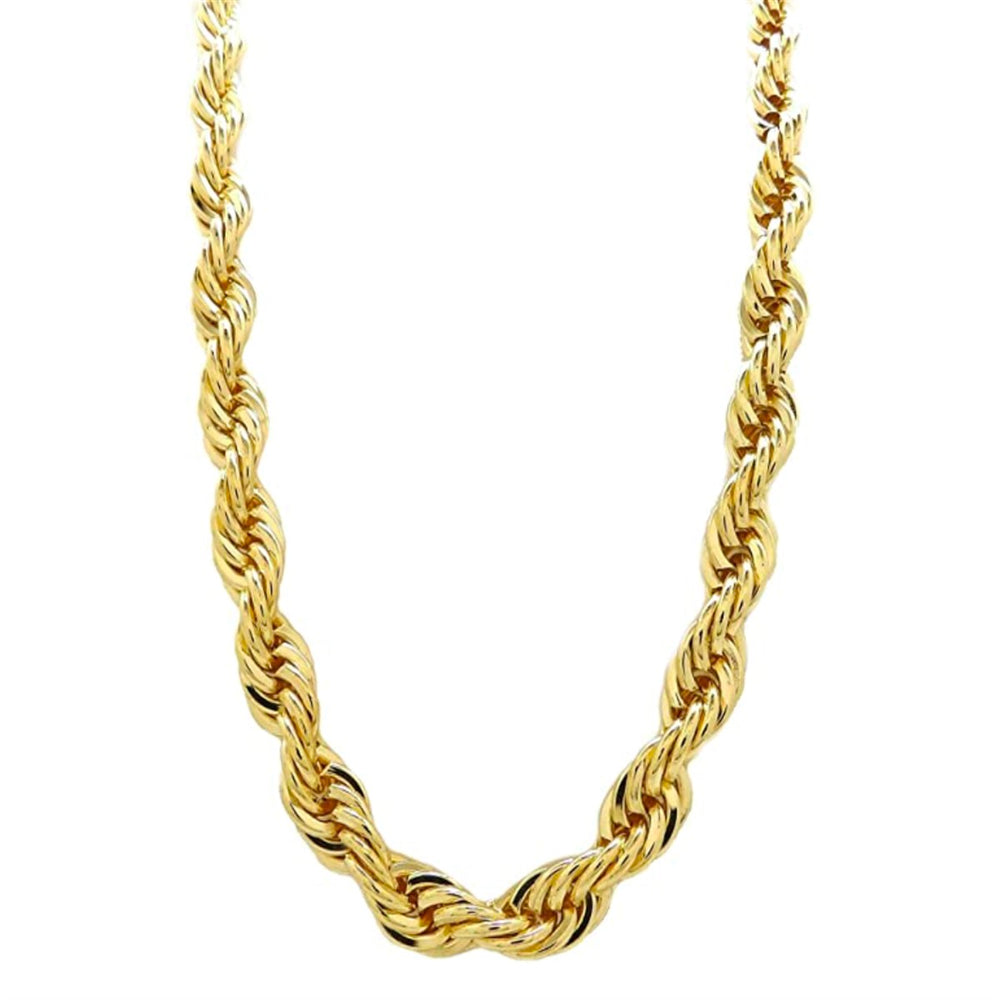 10 MM Solid Gold Rope Chain With Diamond Cuts