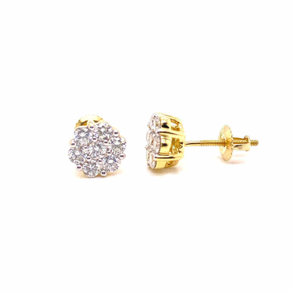 10K Yellow Gold Round Cut Cluster Diamond Earrings