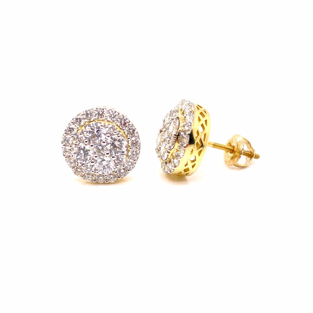 3D Double Layered 10K Yellow Gold Diamond Earrings