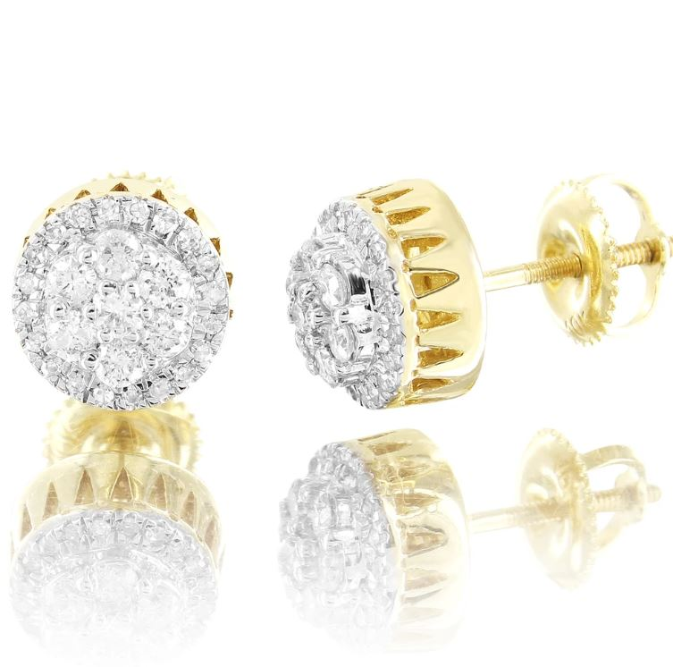 10K Gold Double Layered Cluster Round Diamonds Stud Earrings