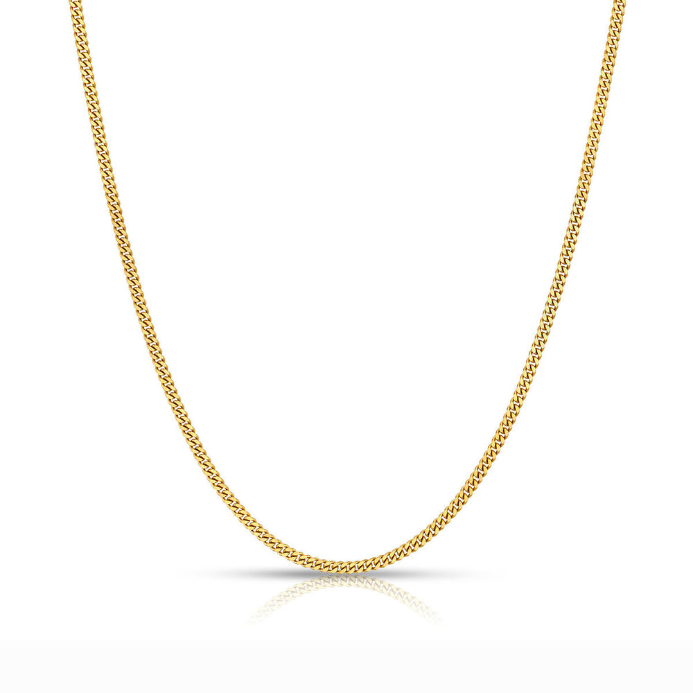 2 MM Solid Gold Miami Cuban Link Chain Yellow White Rose Gold