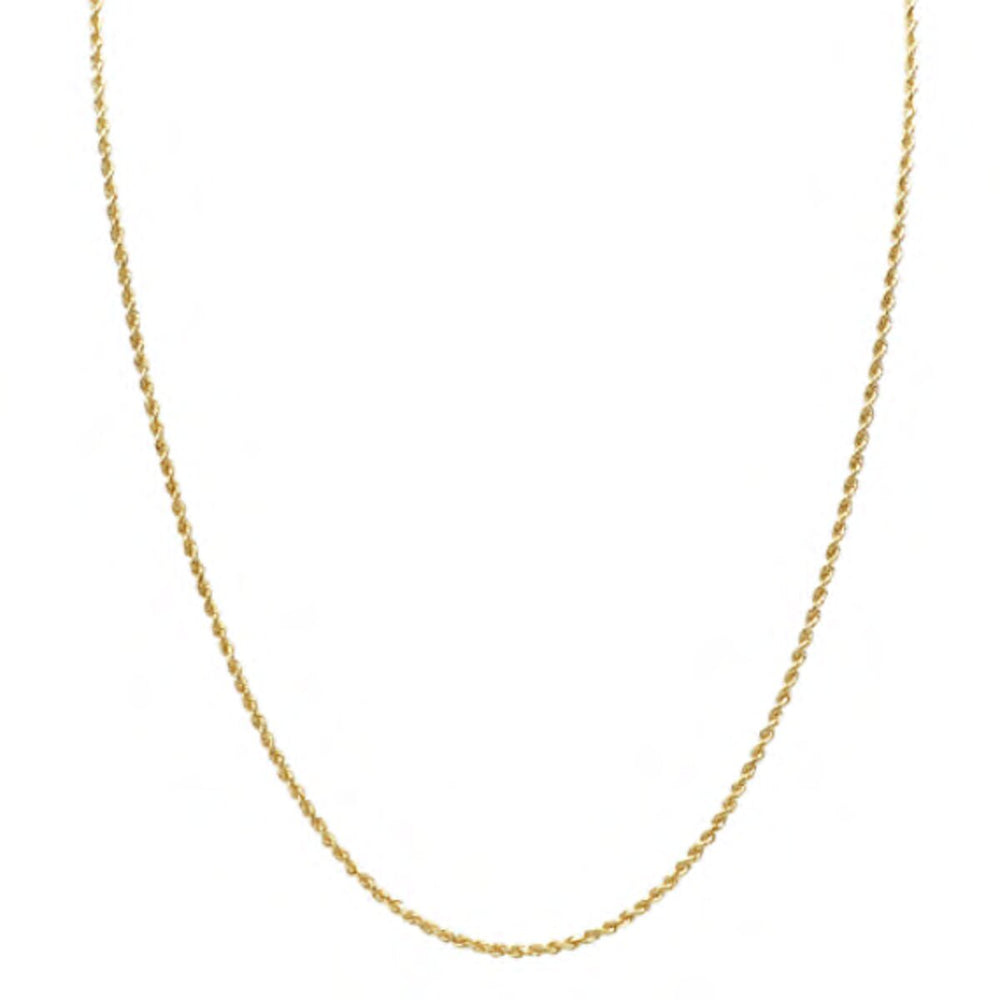 2 MM Solid Gold Rope Chain With Diamond Cuts