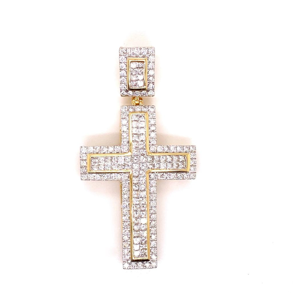 14k Yellow Gold Princess Cut Diamond Cross With Rope Chain