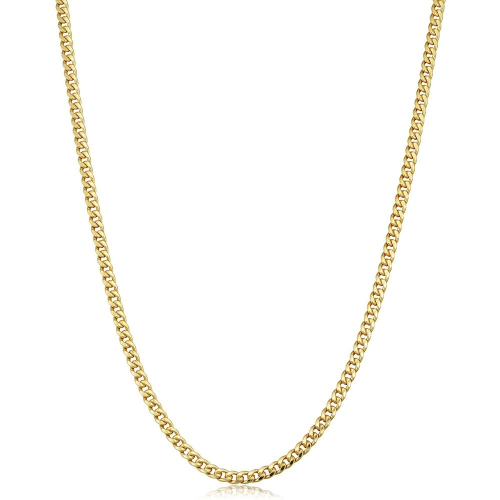 4 MM Solid Gold Miami Cuban Link Chain Yellow White Rose Gold