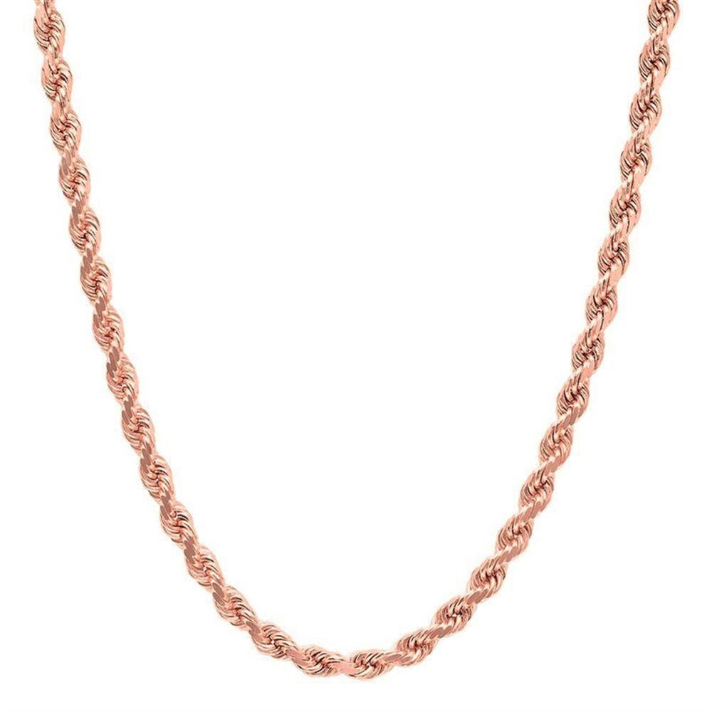 6 MM Solid Gold Rope Chain With Diamond Cuts