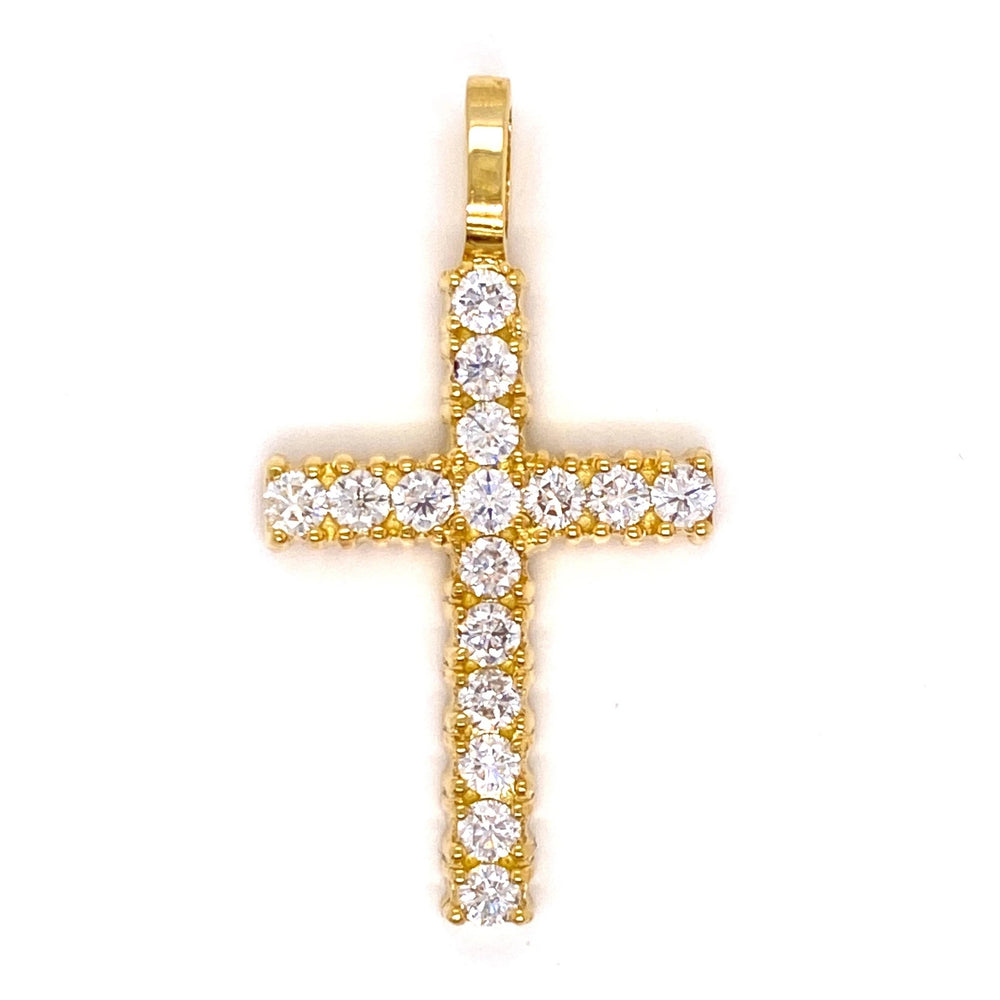 10k Yellow Gold Solitaire Diamond Cross With Rope Chain