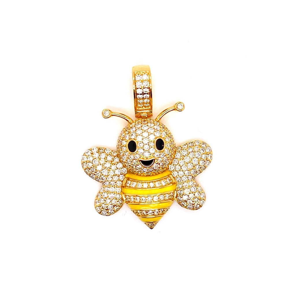 Honey Bee With Yellow Enamel Pendant