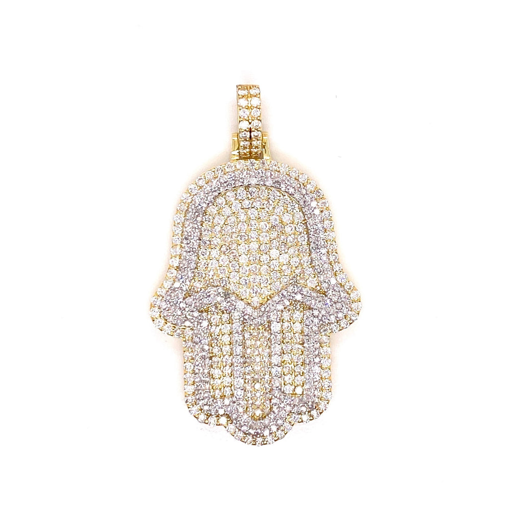 Two Tone Hamsa Hand Pendant With Chain