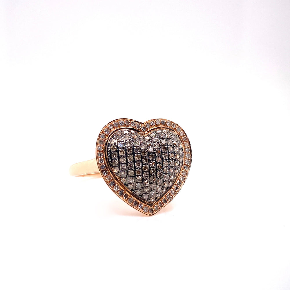 Rose Gold Chocolate Diamonds Heart Ring