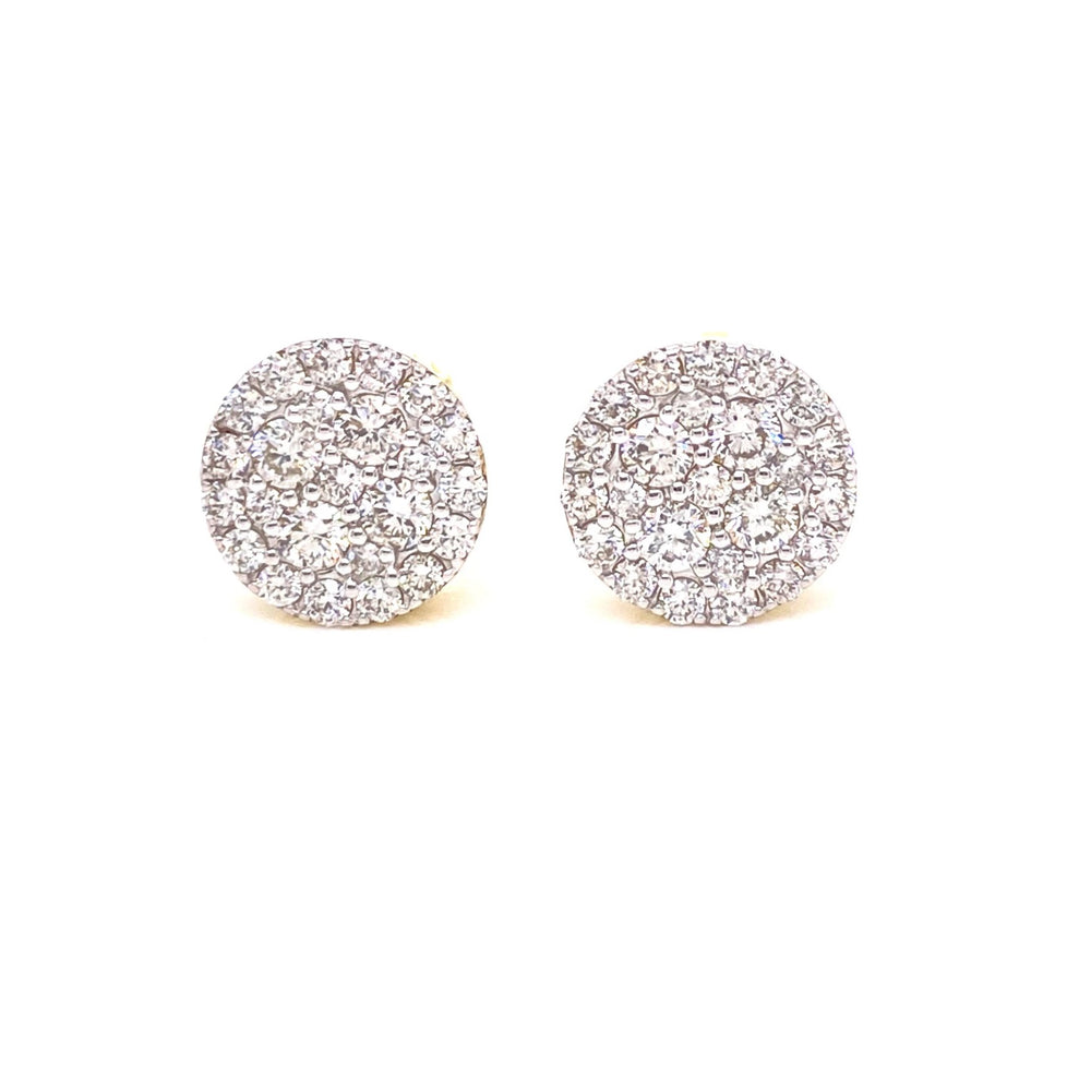 10K Gold Inifinty Set Circle Diamonds Earrings